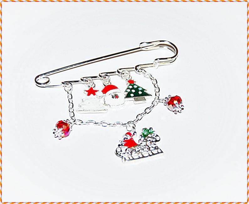 Christmas Time Schlittenfahrt Tuchnadel Schalnadel Schmucknadel Anstecknadel Accessoires