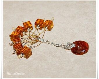 Knitting stitch Markers Knitting Amber glass