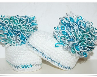 Baby shoes crochet in ugg style photo prop photo shoot