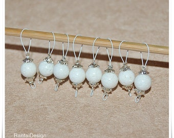 Stitch Markers for knitting white coral