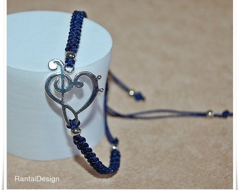 Blue Bracelet Macrame Navyblue music is my soul macrame bracelet music bracelet Lucky Charm