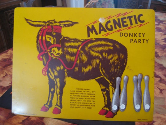 Vintage Magnetic Donkey Party Pin The Tail On Game