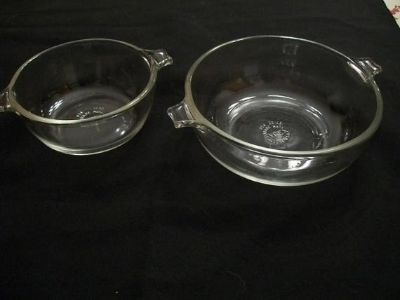 Vintage Pyrex Set Clear #018 and #019 Bowl and 20 oz. Casseroles 10 oz Baking Dish