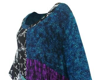 Tunic Plus Size Top, Art Wear plus size clothing XL 1X 2X, long sleeve Boho women's Tunic top, dressy festival shirt with scoop neckline
