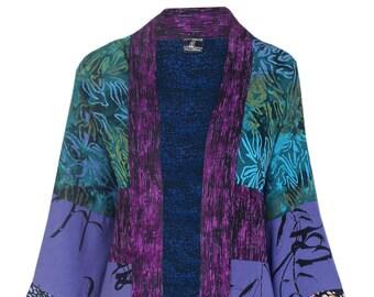 Boho Kimono Robe,  Plus Size Cardigan,  Boho Cardigan Kimono, Purple Kimono Cardigan    Women's Plus Size Japanese Jacket, One Size 1x 2x