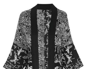 Black Kimono Robe,  Plus Size Cardigan 1x 2x,  Boho Cardigan Kimono, Black Kimono Cardigan. Women's Plus Size Japanese Jacket, 1x 2x