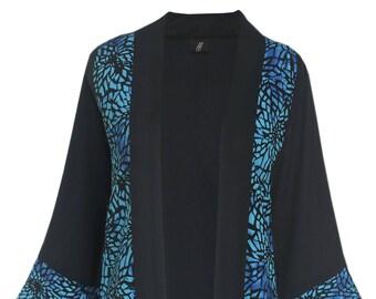3x 4x Kimono Jacket, Oversize Plus Size Kimono Cardigan with Pocket, Made to Order Plus Size 3x 4x, Long Sleeve Women's Kimono 3x 4x