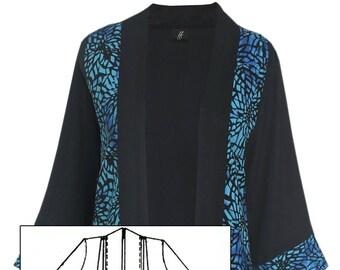 3x 4x Kimono Batik Combination Plus Size Jacket, Features Shell Button Pockets, Dressy Kimono Style Cardigan, Made to Order Plus Size 3x 4x