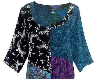 Boho Tunic Plus Size Top, plus size clothing XL 1X 2X, Art Wear Patchwork Top with Scoop Neckline, Long Sleeve Women's Top, Plus Size Tunics
