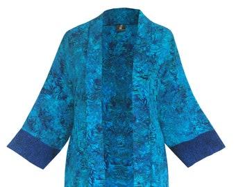 "Long Kimono Plus Size Dressy Jacket 38"", Batik Long Front Cardigan, Art Wear Women's Plus Size Clothing, Cuff Details, One Size 1x-2x,"
