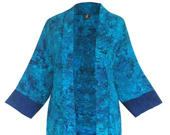 "Long Plus Size Kimono Jacket, Women's Dressy Plus Size Clothing, Art Wear Batik Long Jacket Front 38"", Kimono for Special Events, One Size"