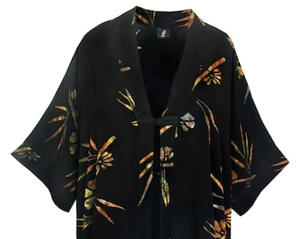 Batik Kimono Oversize Caftan Wrap, Asian Inspired Duster with Chinese Knot Closure, Back Neck Collar, One Size XL-2X, Dressy Women's Kimono