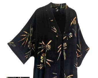 Kimono Art Wear Cardigan in Black Batik with Chinese Knot Closure and Back Neck Collar, Over Size Caftan Kimono  Jacket XL-2X and 2X-4X