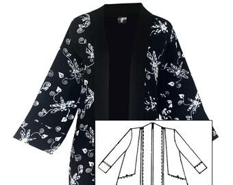 1x 2x Kimono Pocket Jacket With Shell Button Pocket, Dressy Kimono Cardigan for Plus Size Women, One Size 1x-2x Made to Order Kimono Jacket