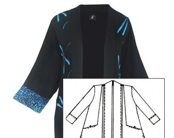 Pocket Kimono Women's Cardigan, Art Wear Kimono One Size 1x 2x, Dressy Jacket, Made to Order for PLUS SIZE, Kimono Style with Shell Buttons