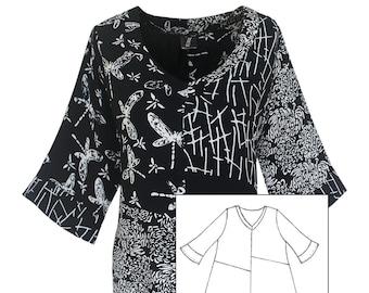 Art Wear Plus Size Tunic Top, Plus Size Clothing XL, 1X, 2X, Black Tunic Top, Boho Women's Tunic Top, Dressy Top Blouse for Plus Sizes XL-2X