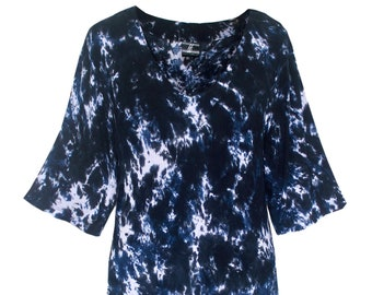 563a8c80ea34fa Plus Size Tie Dye Tunic Top for Women, Hippie Boho Tunic Tie Dyed Top, Navy  Blue Plus Size Short Sleeve Tunic Tops for Plus Size XL 1x 2x