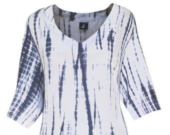 Tie Dye Tunic Top For Women, Plus Size Tunic Top, Navy Blue Top for Full Figure Women, Plus Size Clothes XL 1X 2X