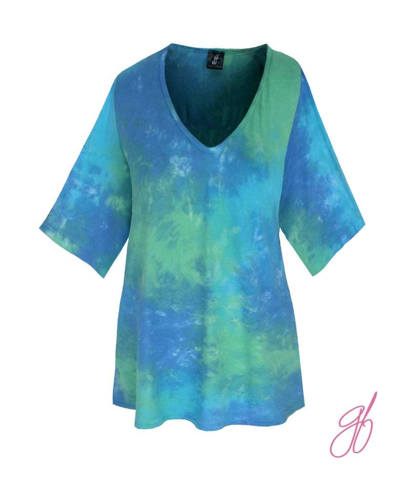 Plus Size Clothing for Women Cotton Tank Top Plus Size Boho Tunic XL 1X 2X Tie Dye V-Neck Women/'s Top Tie Dye Tunic Top Oversized Top
