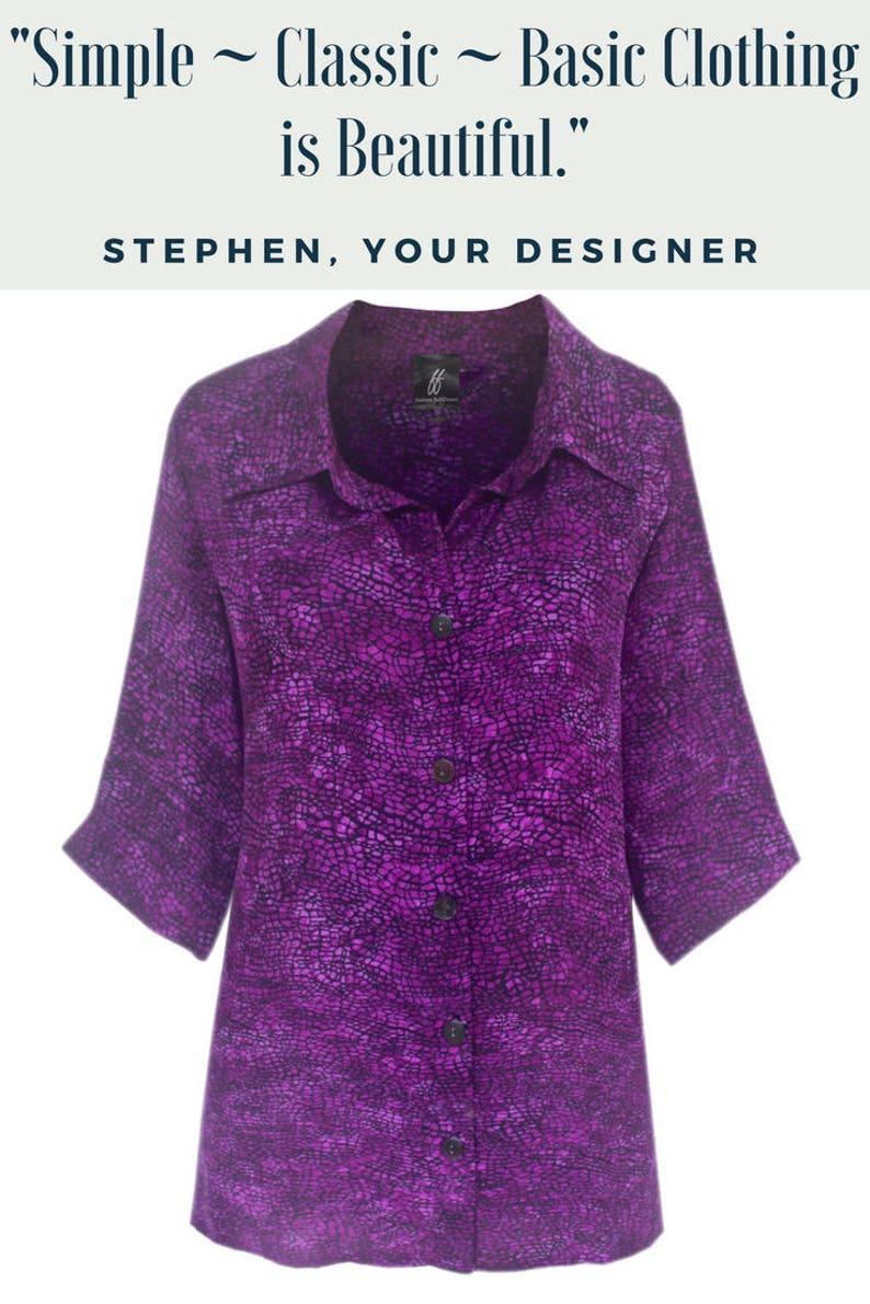 39767a49b9 Plus Size Purple Tops Women Classic Shirt Tunic Plus Size