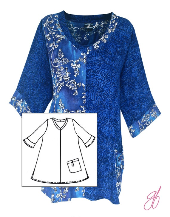 Long Sleeve Women\'s Plus Size Tunic Top, Batik Art Wear Plus Size Clothing  XL-2X, Blue Navy Blouse with Long Flare Sleeves for Full Figures