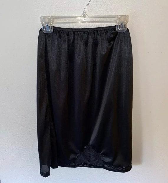 Circa 1950's Chiffon Silk Blend Slip Sheer Black