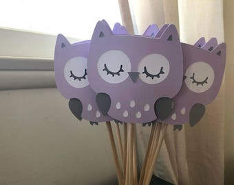 Owl center pieces in lavender set of 12 ready to ship