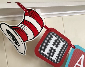 Ready To Ship Cat in the Hat Happy Birthday banner