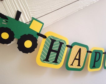 Tractor Birthday Banner /Yellow and green tractor banner