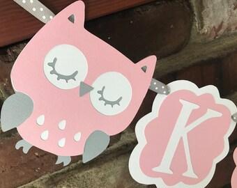 Owl baby shower banner banner/ sleeping owl baby banner/ owl baby girl name banner