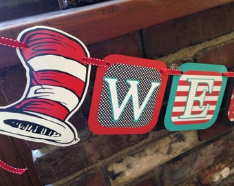 Ready To Ship Cat in the Hat Welcome Baby banner / Cat in the Hat inspired baby shower banner