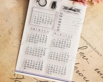 Calendar Clear Stamps Set -- 10 x 15cm stamp