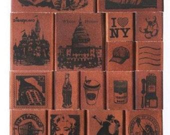 Wooden Rubber Stamp box sets 1 set-- Vintage stamp gift box--Scrapbooking stamp--American story