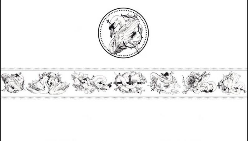 Deco tape--38mm x10M Swan Washi Tape Japanese Washi Tape--Gothic Style Washi Tape