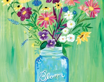 Bloom in a Mason Jar | Art Print | Wall Art