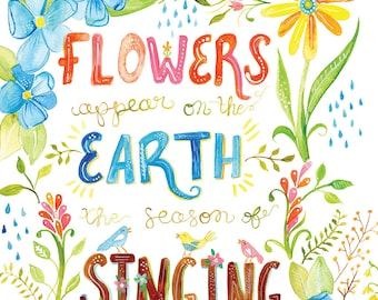 Flowers Appear on the Earth | Song of Solomon 2:12 | Watercolor Print