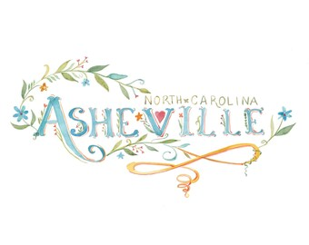 Asheville | Watercolor | Lettering