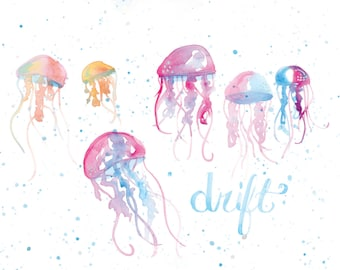 Jellyfish Drift | Watercolor | Lettering