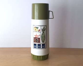 Vintage Addis Isovac Flask with Kitsch Kitchen Shelves Motif