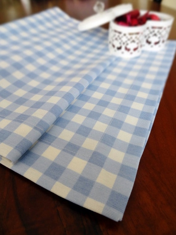 Duck Linen Table Runner Blue Gingham Tablecloth Housewares | Etsy