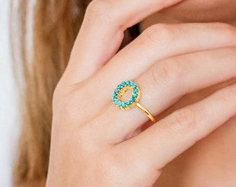 Turquoise Halo Pave Ring