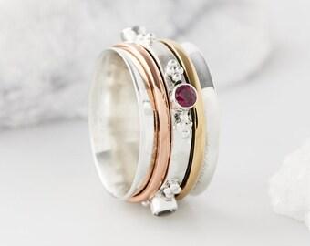 Spinner Rings, Fidget Rings, Worry Rings, Thumb Rings, Meditation Rings, Birthstone Rings, Boho Rings, Spinning Rings, Spin Rings JR140