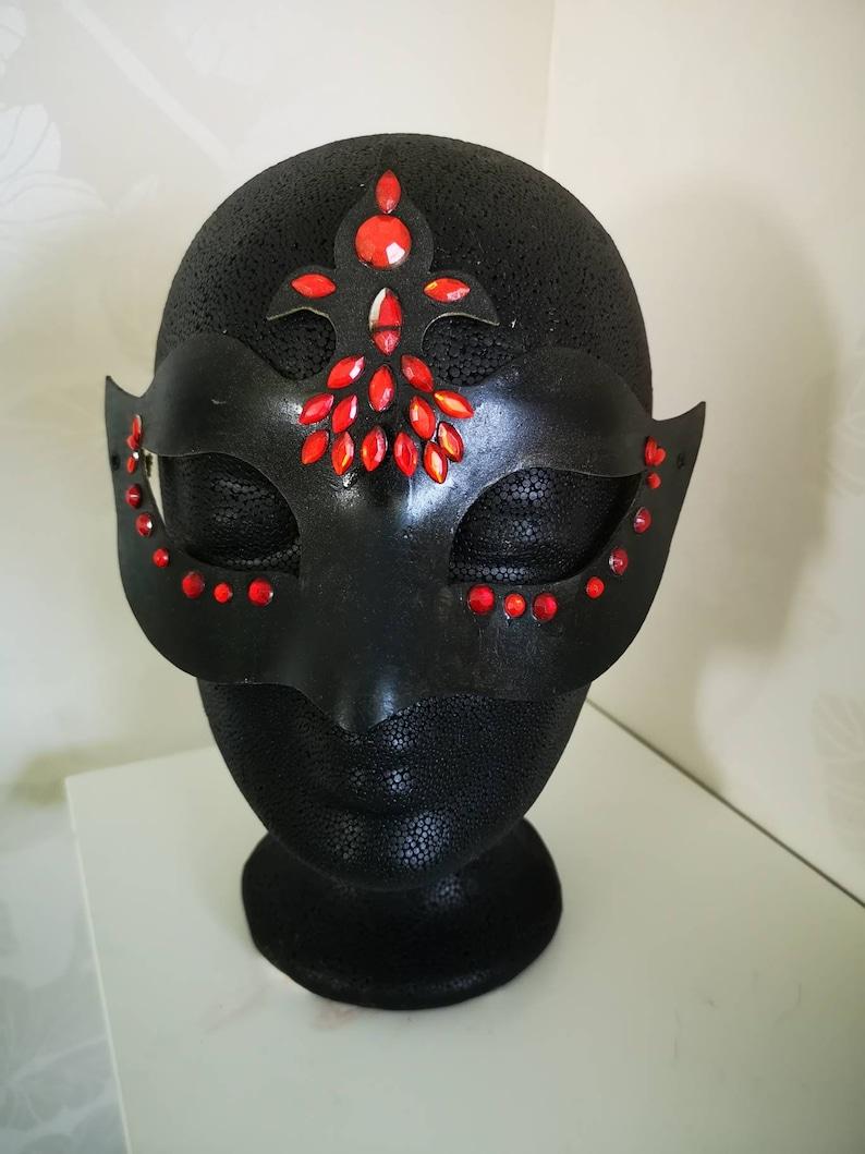 Venetian mask black with red rhinestones