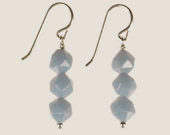Angelite Drop Earrings Spring Summer Jewelry Birthday Gift for Her Protective Stone Minimalist Boho Artisan Blue Sterling Silver Dangle