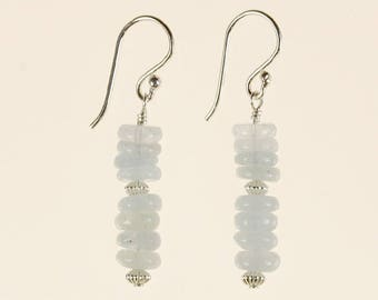 Aquamarine Drop Earrings Birthday Mother's Day Gift for Her Minimalist Boho Artisan March Birthstone Blue Gemstone Sterling Silver Dangle