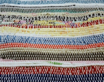 Boho Traveller Multi Stripes Handwoven Rag Rug