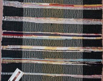 Green Multi Stripes Shortie/Mat Handwoven Rag Rug