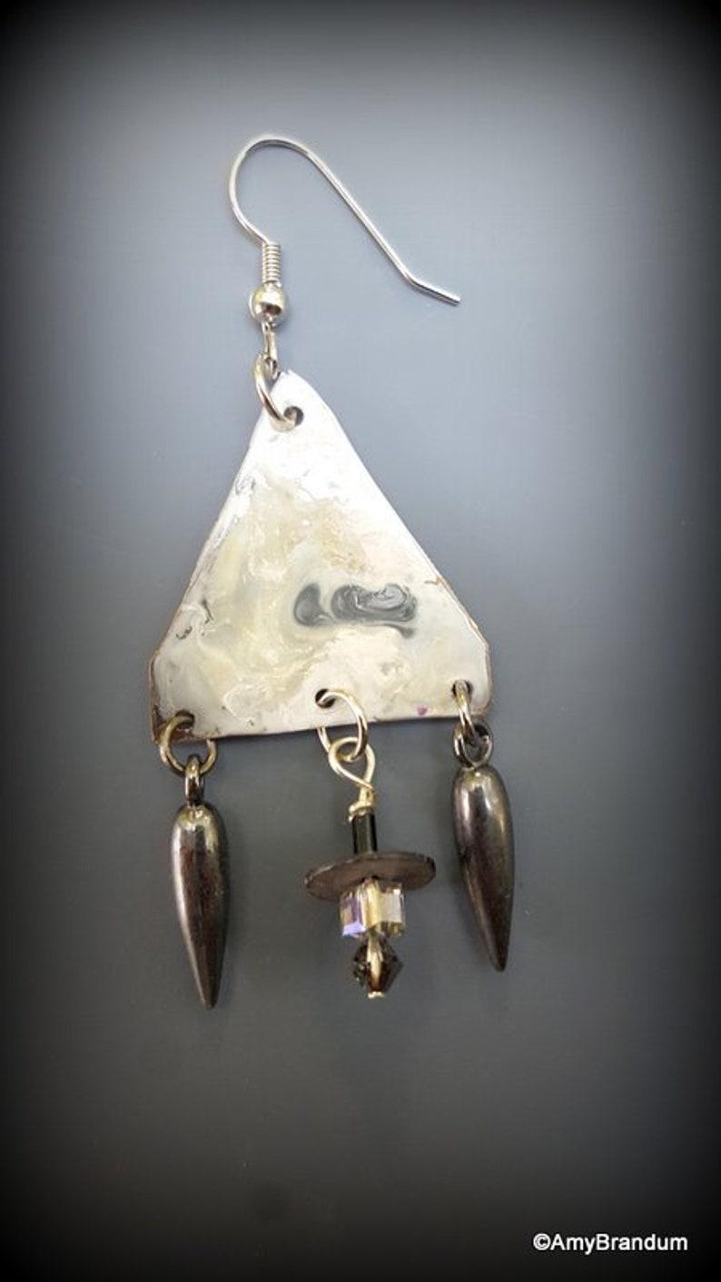 White and Gray Rock Triangle Art Bead Handmade Dangle Earrings original design,art jewelry,boho,colorful,natural,fun earrings
