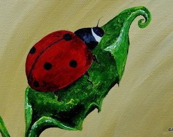 """Ladybug original canvas painting, 8x10"""", nature, small painting, bugs, leaves, animals,for the home"""