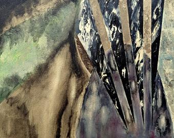 "Smoky Textures Original Painting by Amy Brandum, 16""x20"",acrylic, original, nature, wall art, abstract,painting on canvas,stripes,dark"